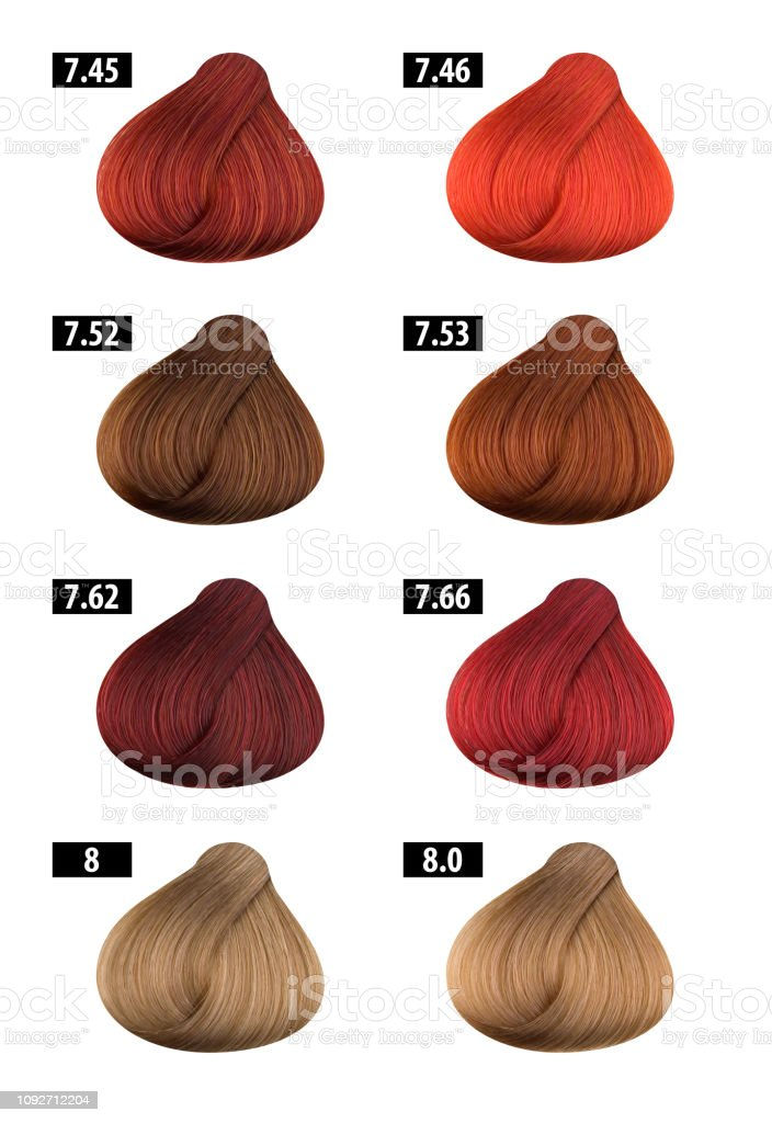 Haircolor And Hair Dye Colours Chart Colour Numbers 8 Stock Photo Download Image Now Istock