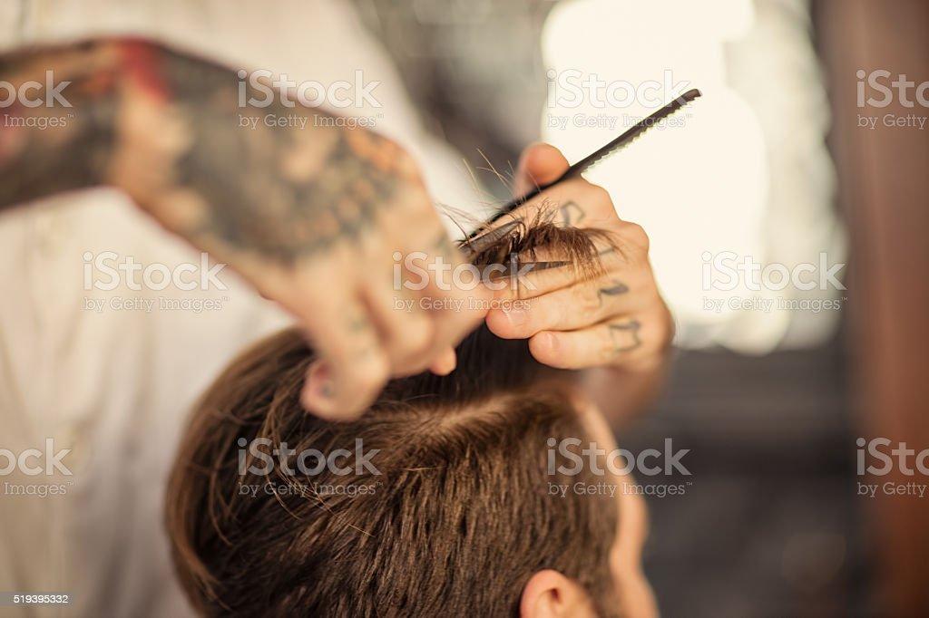 Haircut at barber shop stock photo