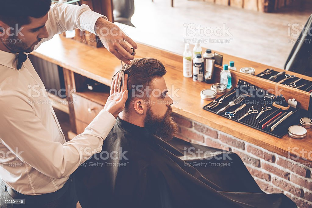 Haircut must be perfect. stock photo