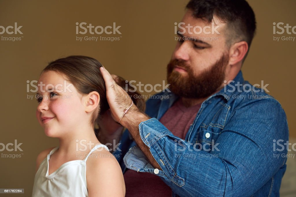 Hairdo by Dad stock photo