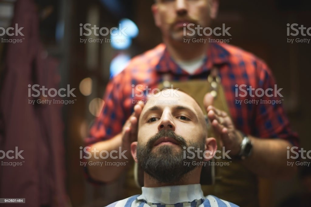 Hairdresser and customer stock photo