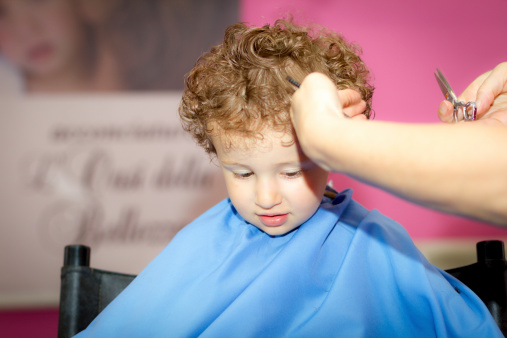 Hairdresser And Toddler With Curly Hair Stock Photo Download Image Now Istock