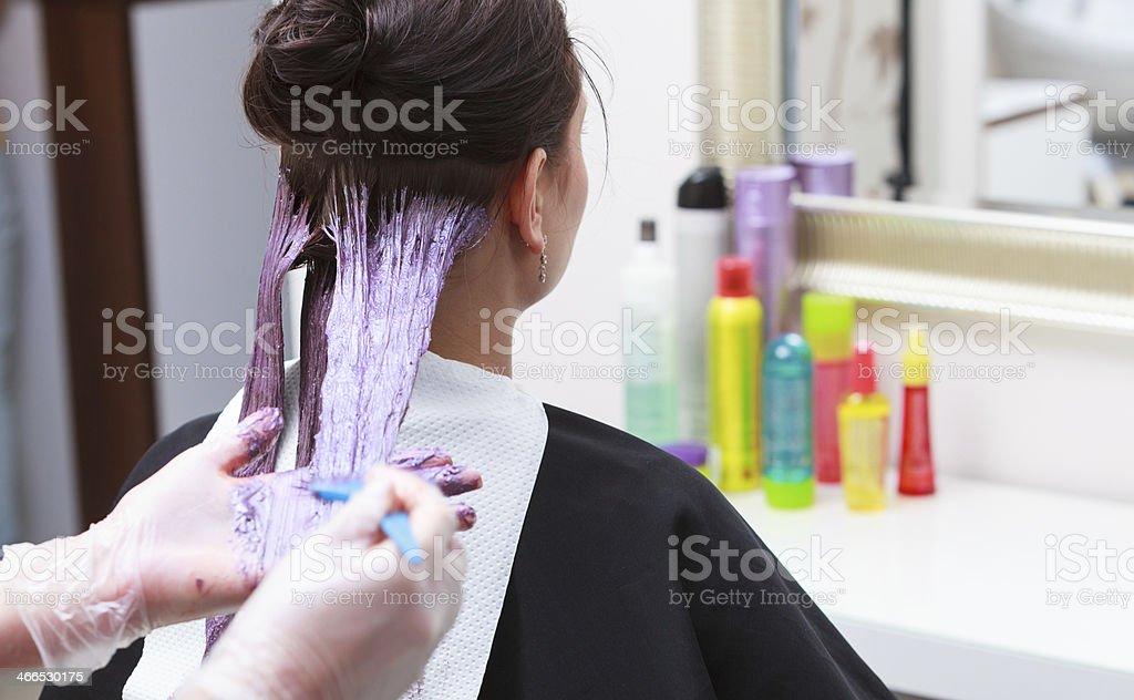 hairdresser applying color female customer at salon, doing hair dye stock photo