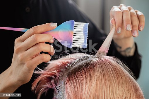 istock Hairdresser colorist dyes the hair of a woman to a client in different colors. 1200979798