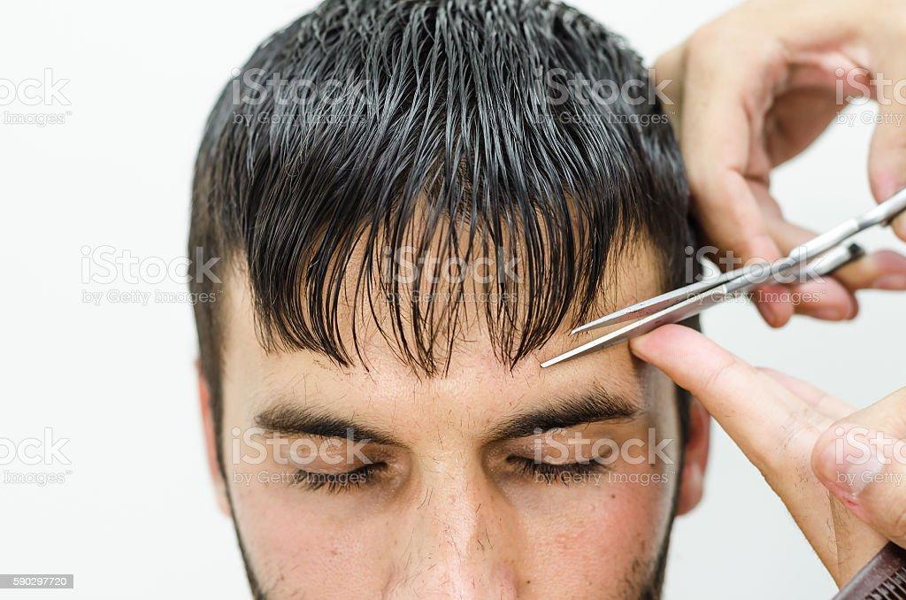 Hairdresser cut and shaped bangs royaltyfri bildbanksbilder