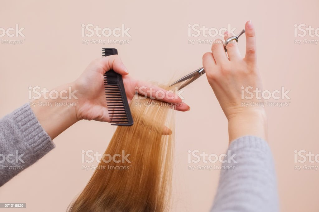 hairdresser does a haircut with scissors of hair to a young girl stock photo