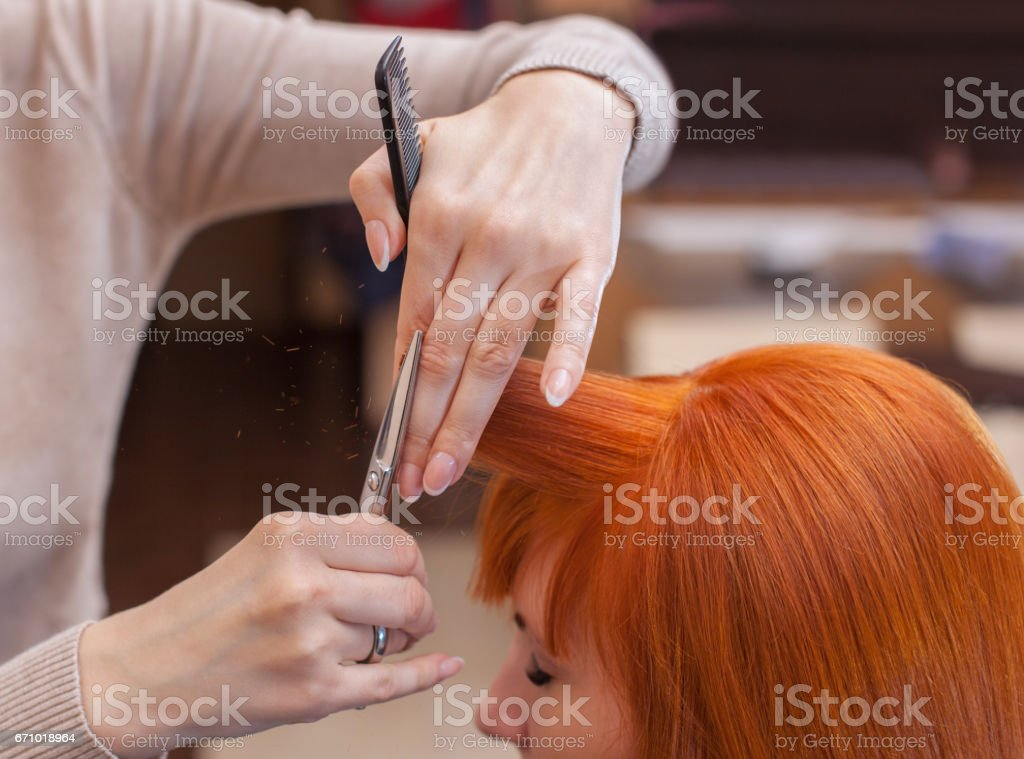 hairdresser does a haircut with scissors of hair to a young with red hair girl stock photo