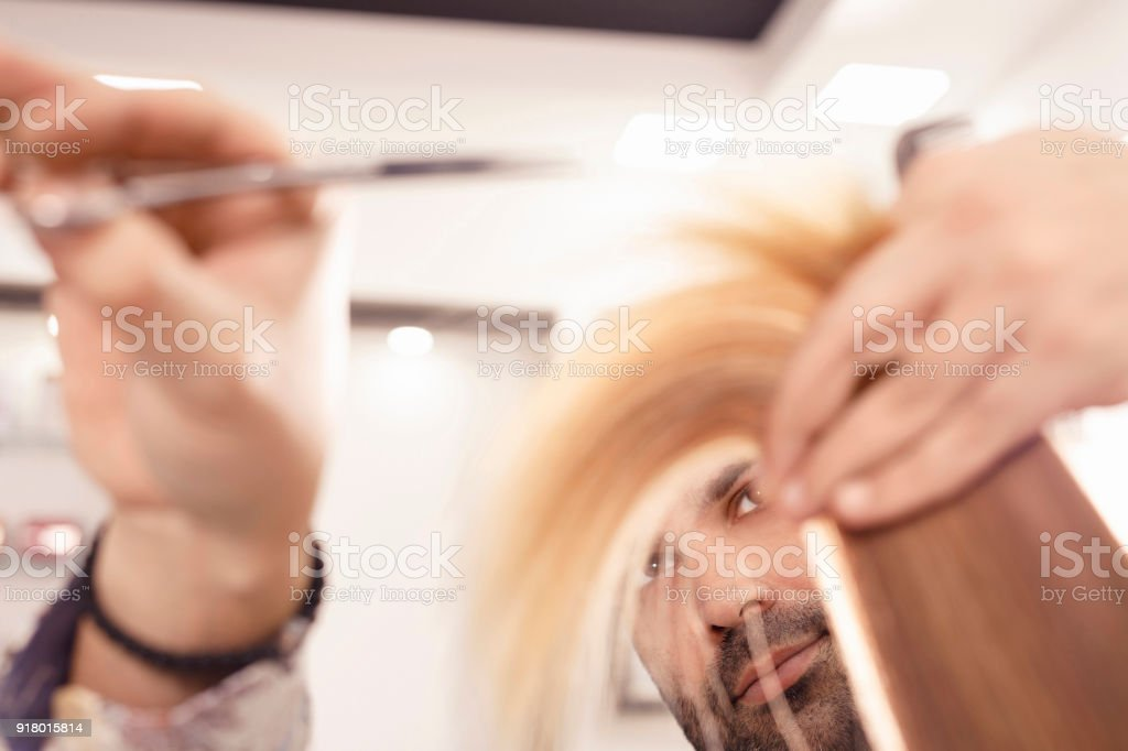 Hairdresser in action Hair Cutting. Natural Beauty woman at a hair salon  royalty-free d2a16ef174