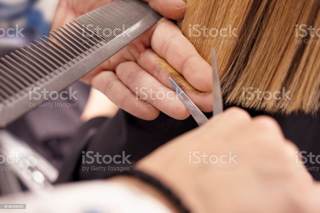 Hairdresser in action Hair Cutting. Natural Beauty woman at a hair salon -  Stock image . 99fe178260