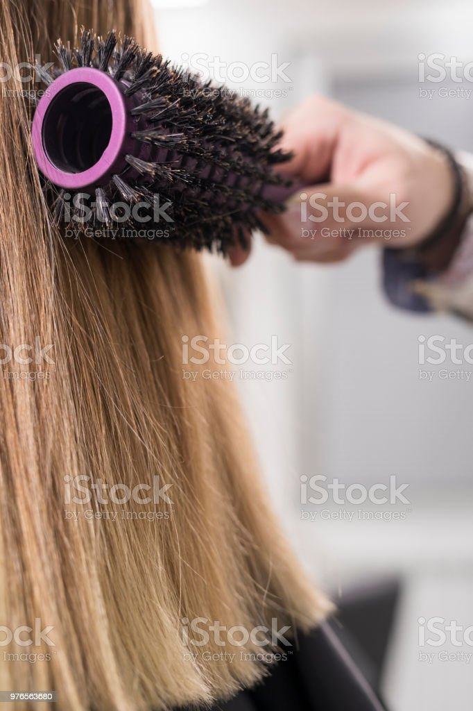 Hairdresser In Action Hair Styling Hair Brushing Natural Beauty ... 048aec94dd