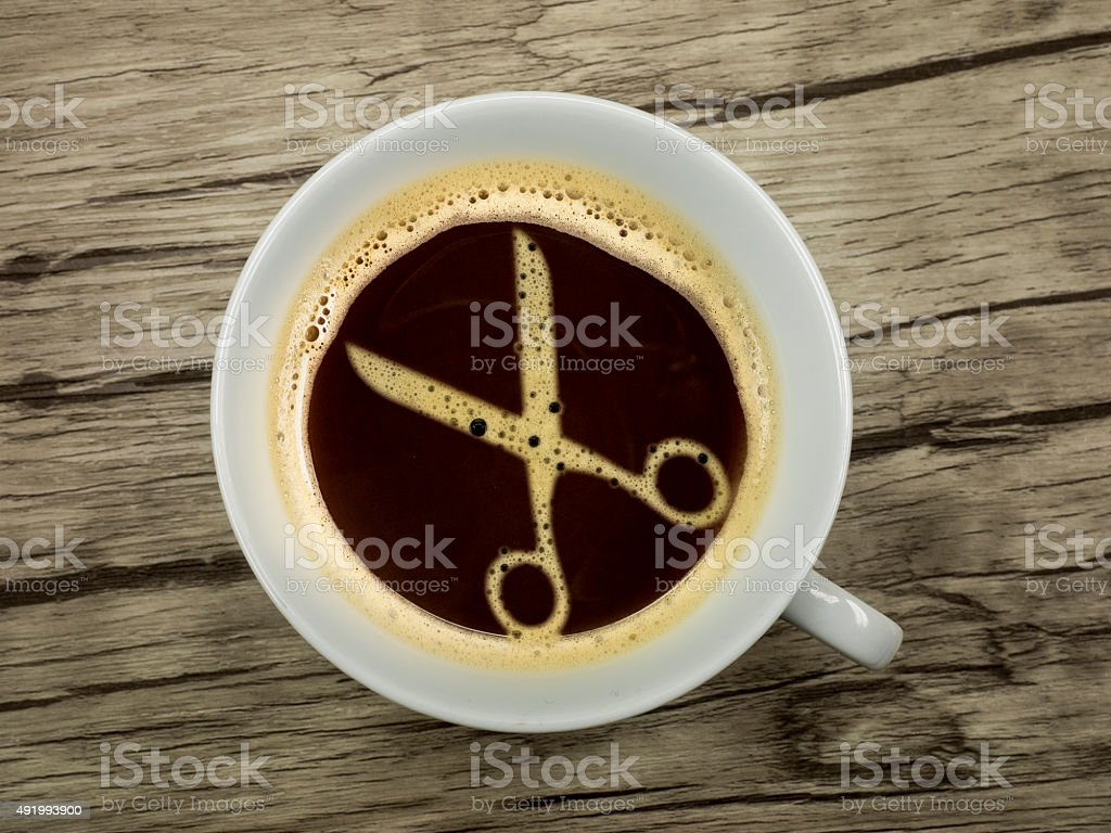 Hairdresser offers coffee stock photo