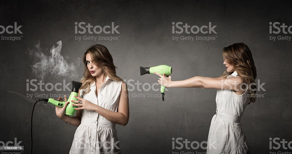 hairdresser shot with phon stock photo