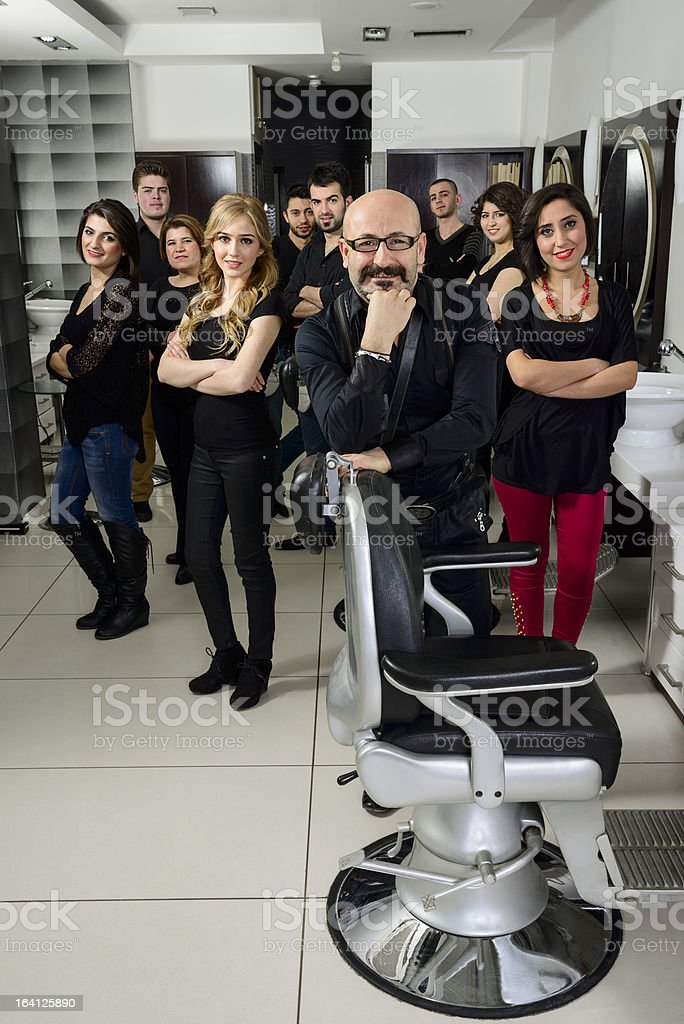 Hairdresser teamwork royalty-free stock photo