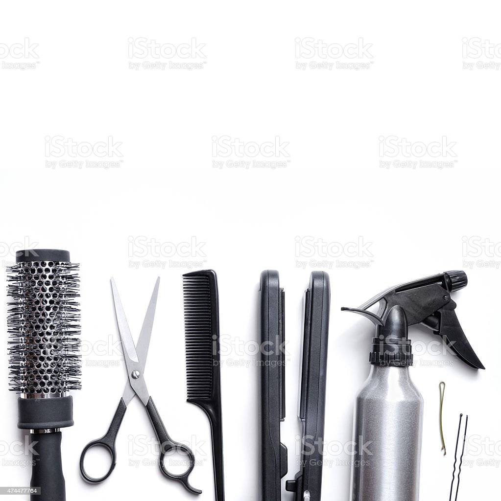 hairdressing accessories set isolated with white background down stock photo