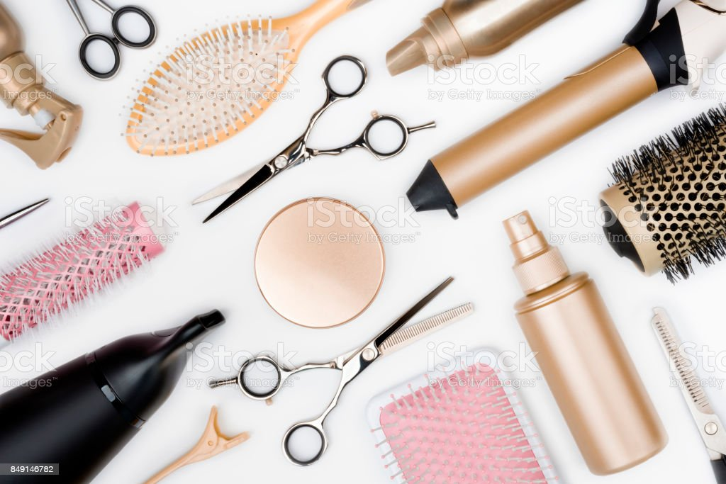 Hairdressing Tools And Various Hairbrushes On White ...