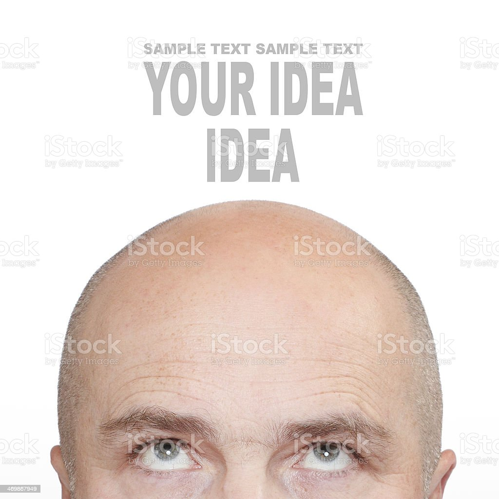 Hairless men's head. stock photo