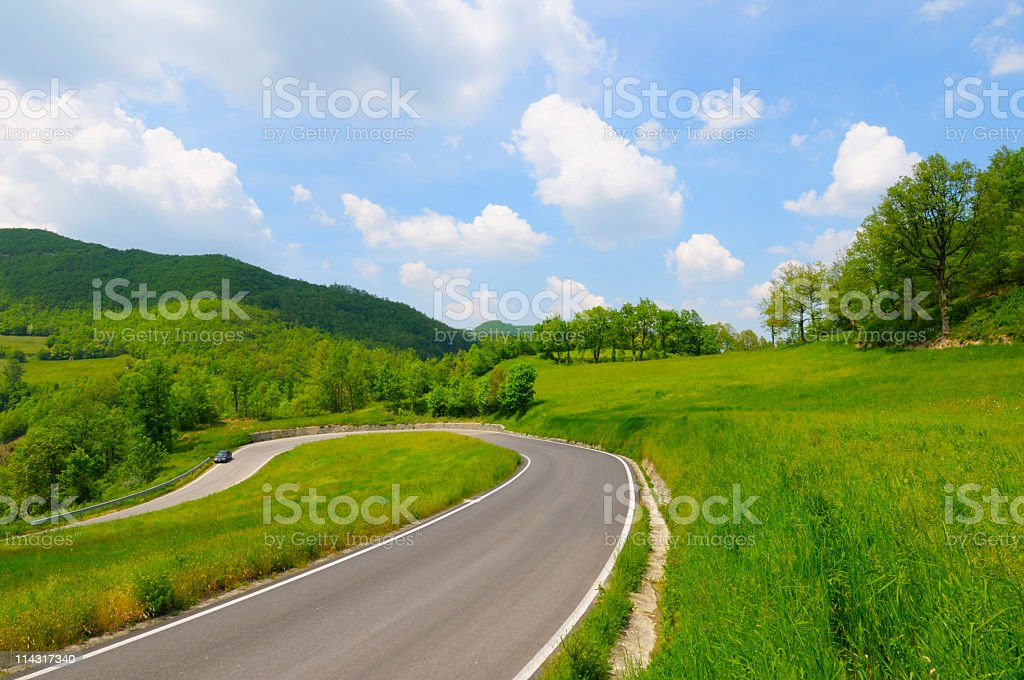 Hairpin Bend in a Country Road royalty-free stock photo
