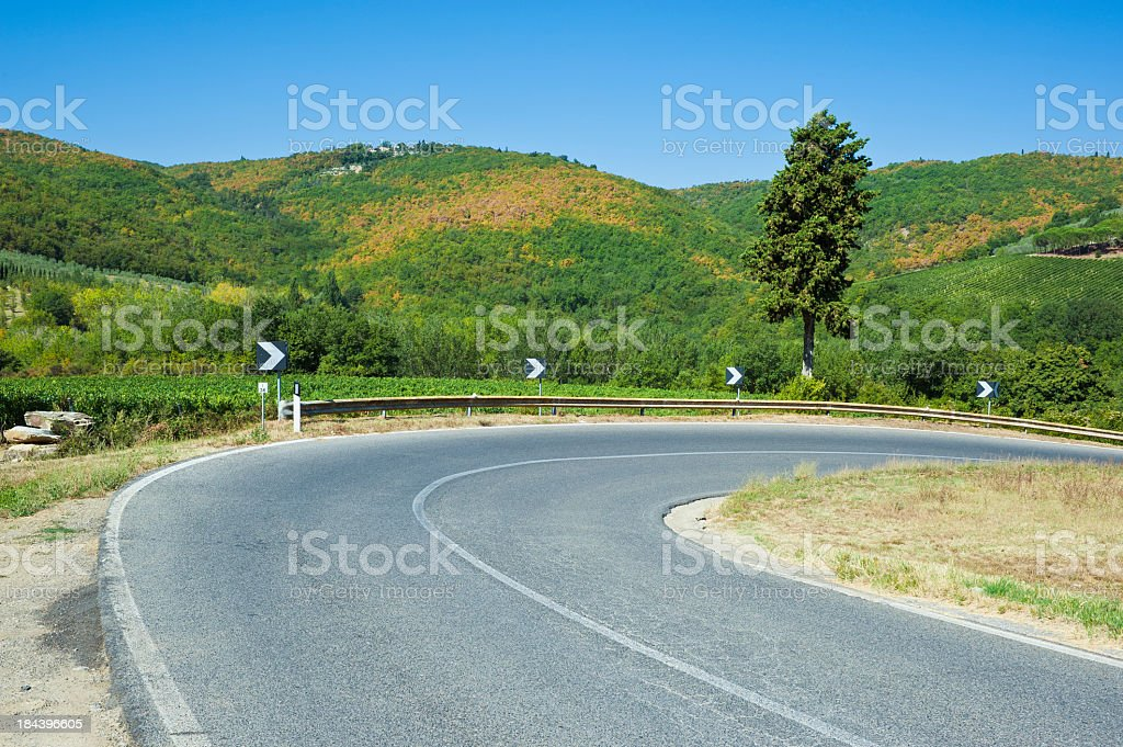 Hairpin Curve On The Hill In Chianti Region, Tuscany royalty-free stock photo