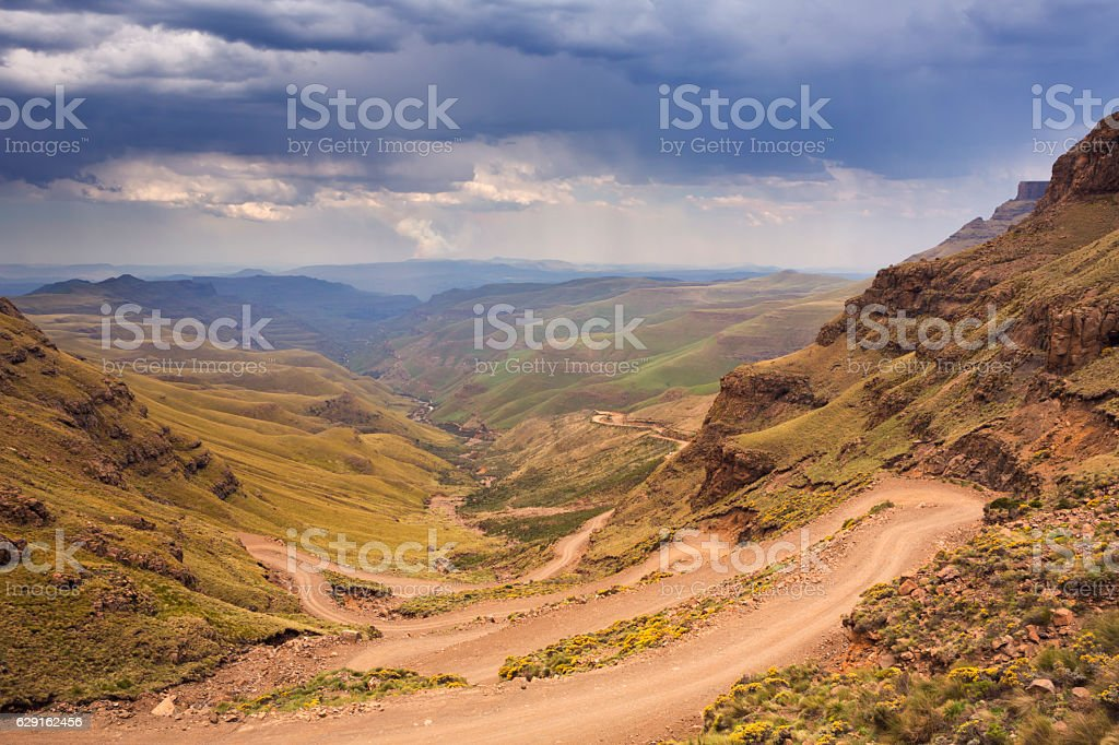 Hairpin turns in the Sani Pass in South Africa stock photo