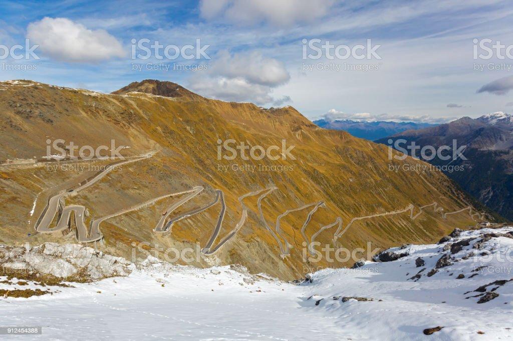 Hairpin turns of mountain pass (Stelvio Pass) named Stilfser Joch in Deutsch, in Italy stock photo