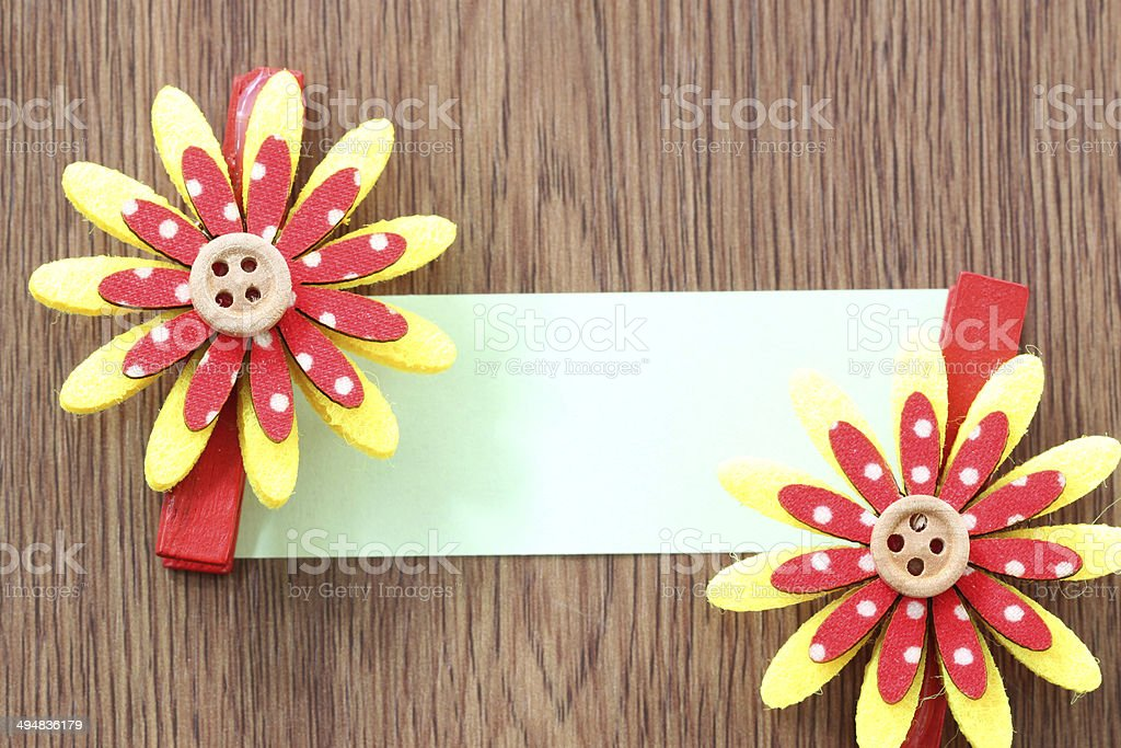 Hairpins of red mix yellow pattern and note paper. royalty-free stock photo