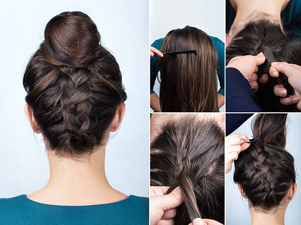 hairstyle braid bun tutorial stock photo