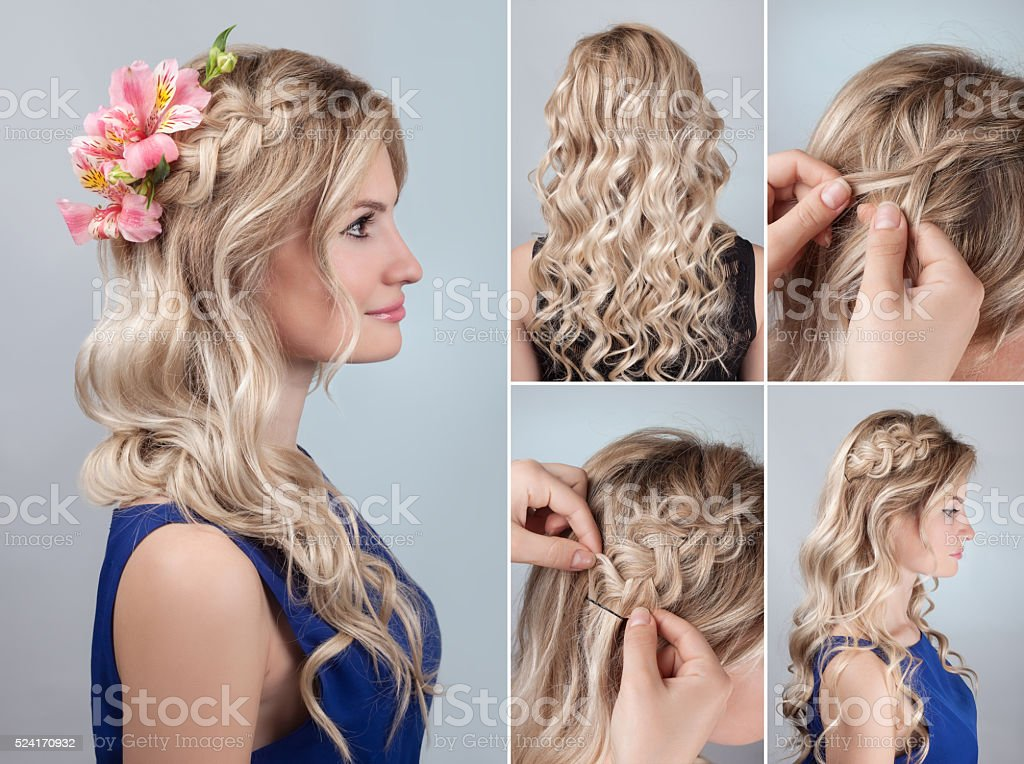 hairstyle braid with fresh flowers tutorial stock photo