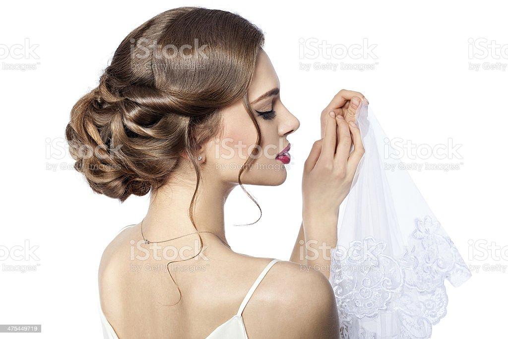 Hairstyle bride. stock photo