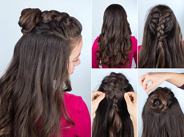 hairstyle bun with plait tutorial - zopf frisuren stock-fotos und bilder