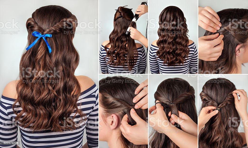 hairstyle for long curly hair tutorial stock photo
