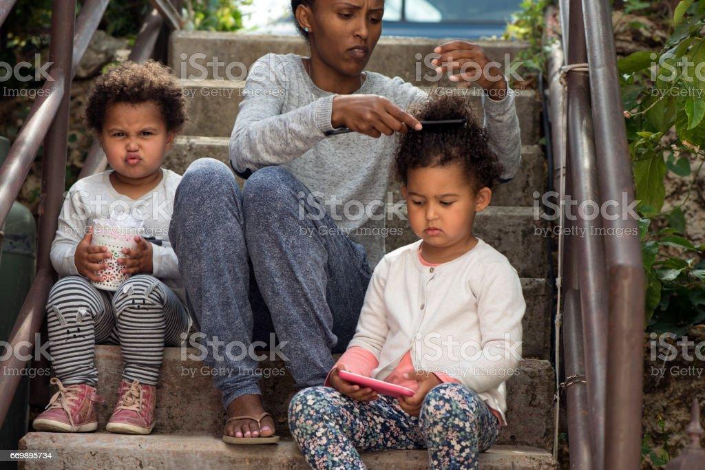 Hairstyle in childhood neighborhood. stock photo