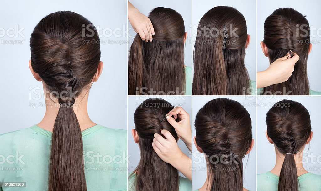 hairstyle ponytail with twist hair tutorial stock photo