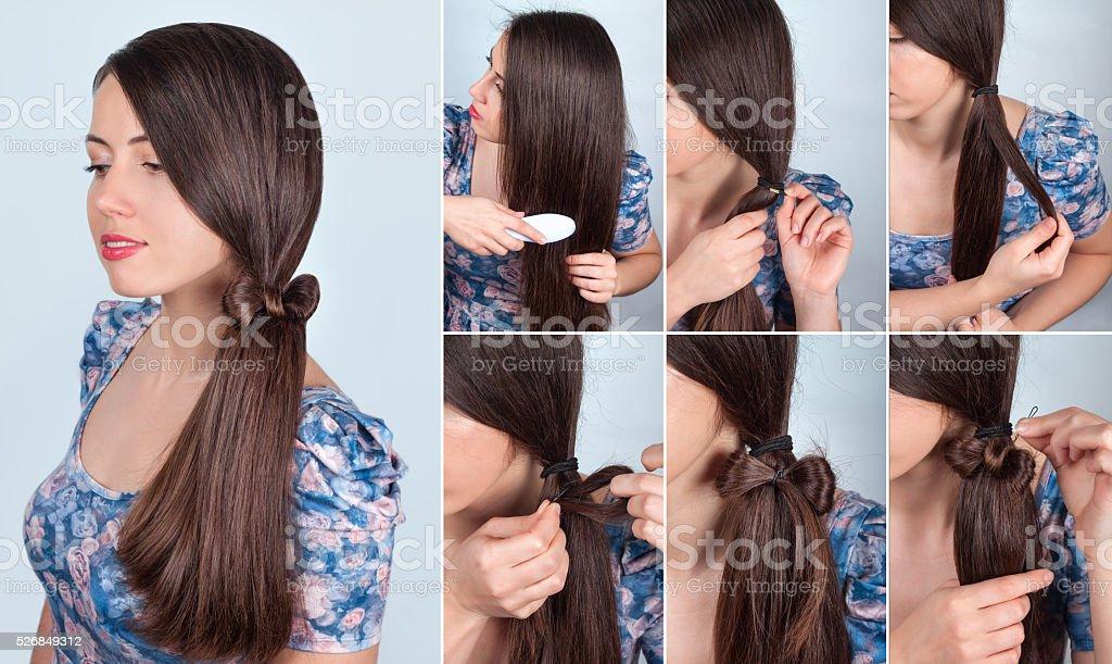 Frisur Schwanz Mit Schleife Fur Langes Haar Tutorial Stockfoto Und