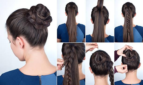 hairstyle tutorial bun with plait - zopf frisuren stock-fotos und bilder