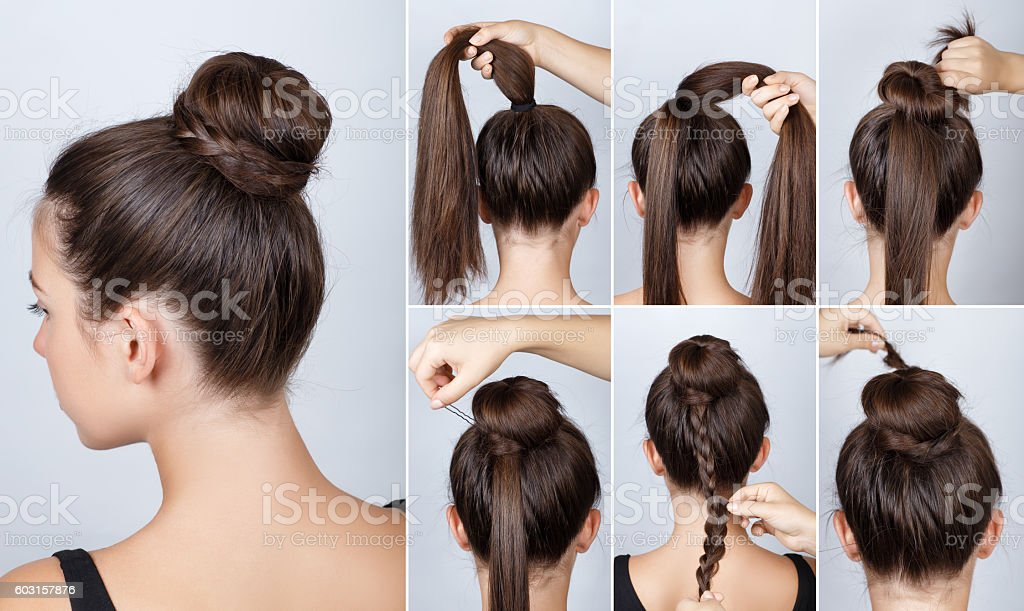hairstyle tutorial elegant bun with braid stock photo more pictures of activity istock. Black Bedroom Furniture Sets. Home Design Ideas