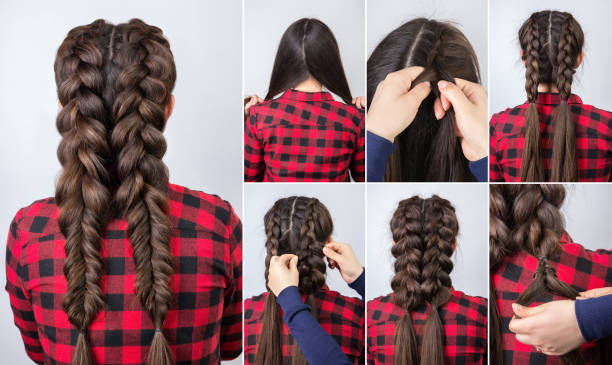 hairstyle two braids tutorial stock photo