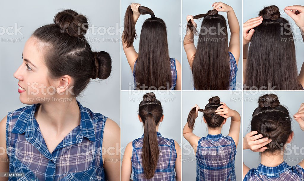 Hairstyle two bun tutorial stock photo