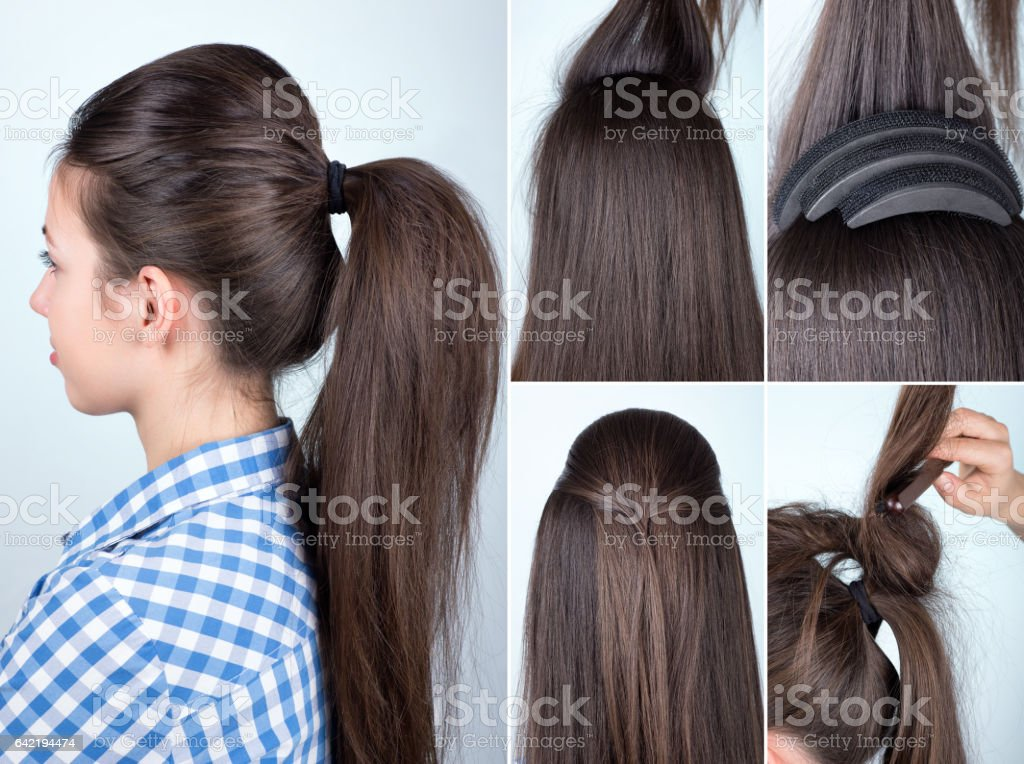 hairstyle volume ponytail tutorial stock photo