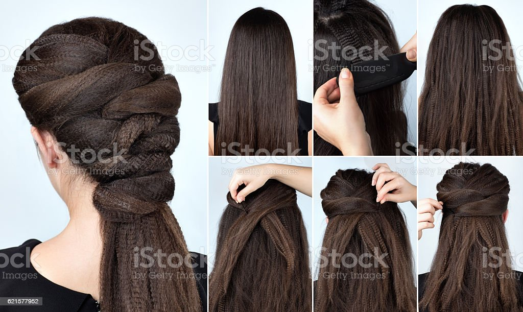 hairstyle with curly hair tutorial photo libre de droits