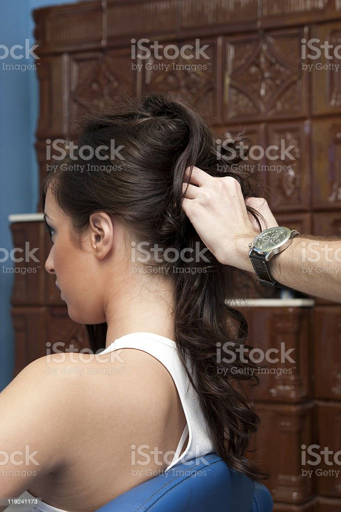 Hairstylist at work royalty-free stock photo