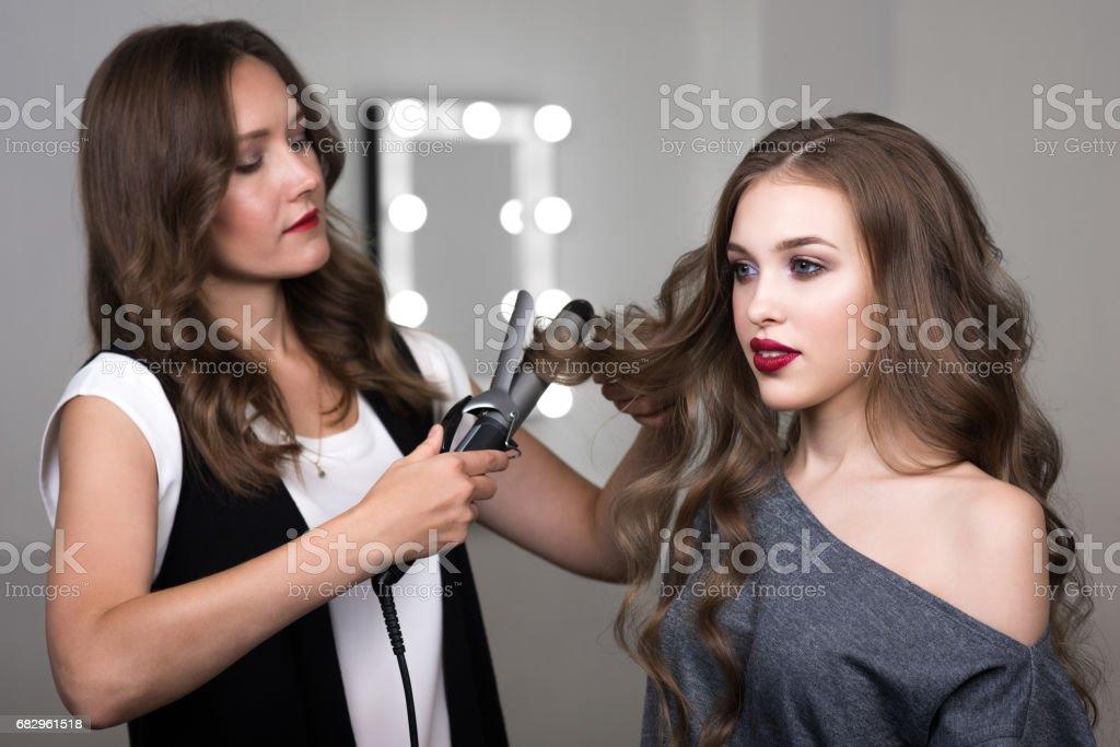 Hairstylistin work stock photo