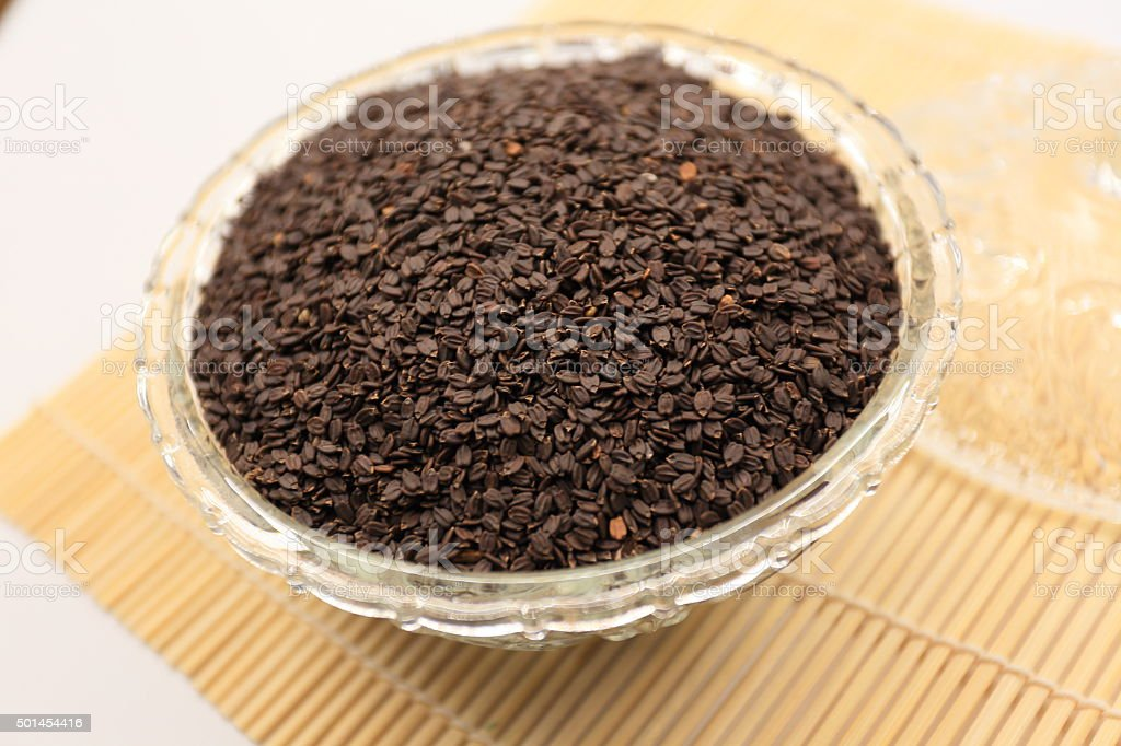 Hairy Basil seed raw food stock photo