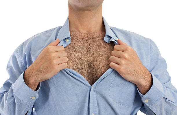 Hairy chest stock photo