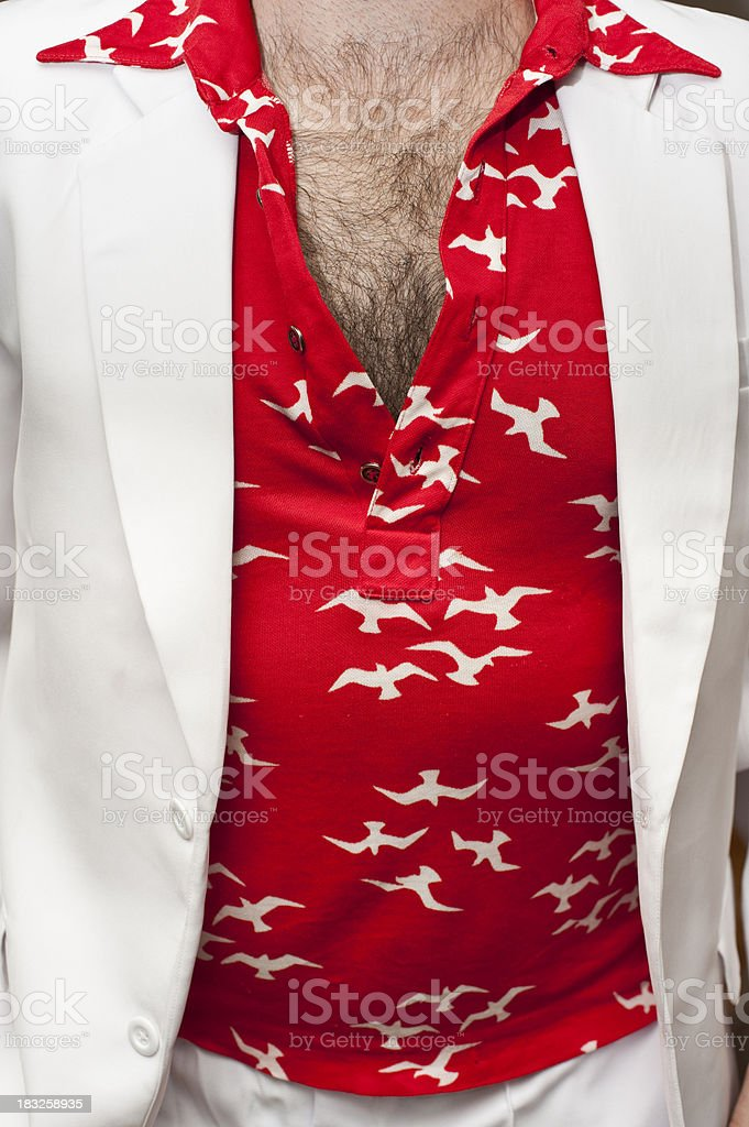 Hairy chest with 70's retro red shirt stock photo