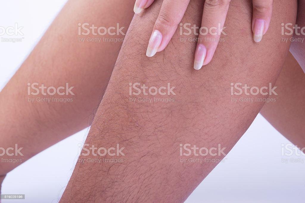 hairy legs stock photo