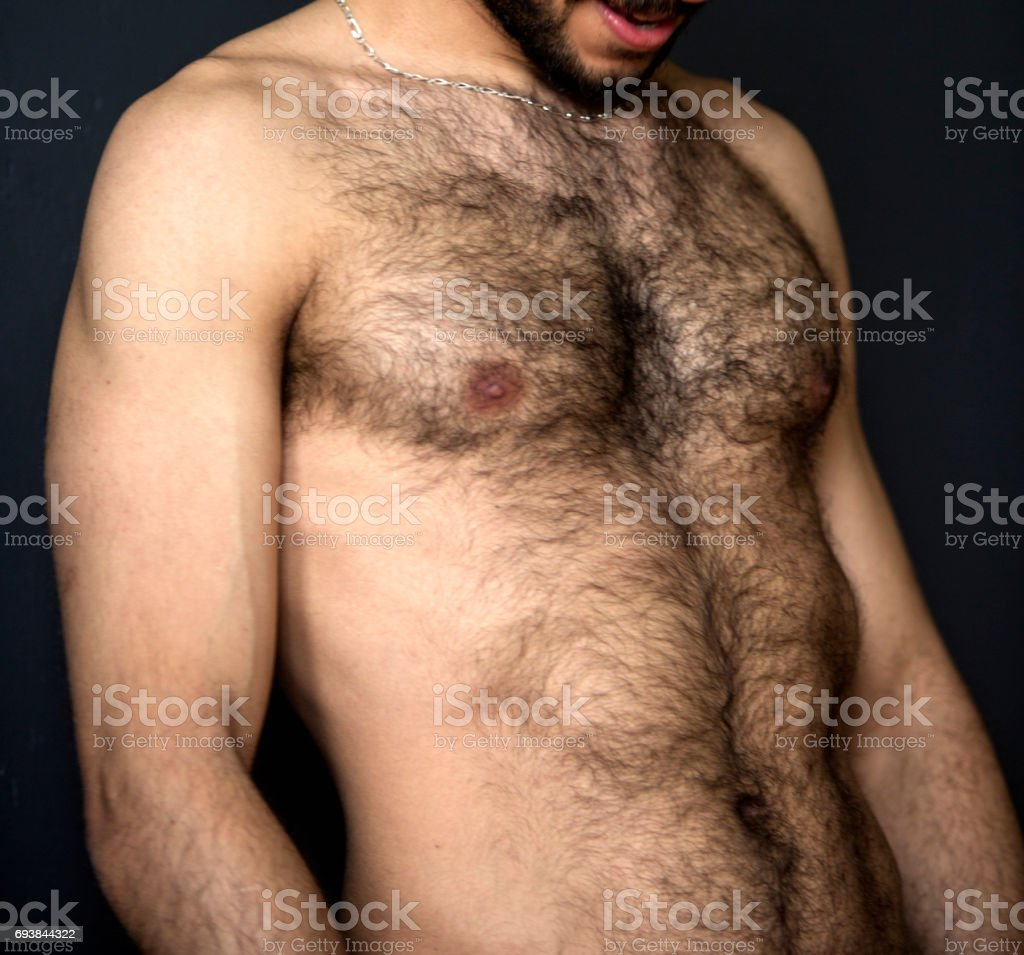 Hairy naked upper body of a man - Stock image .