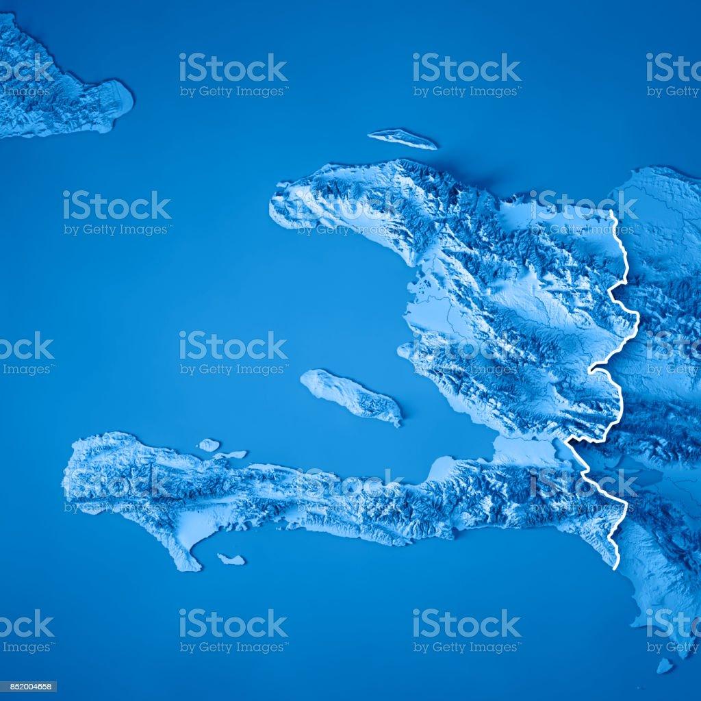 Topographic Map Of Haiti.Haiti 3d Render Topographic Map Blue Border Stock Photo More