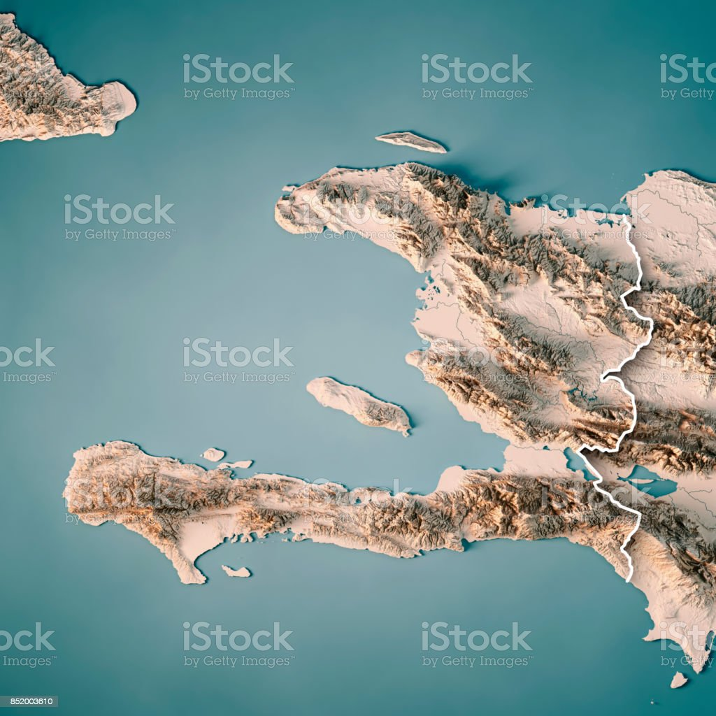 Topographic Map Of Haiti.Haiti 3d Render Topographic Map Neutral Border Stock Photo More