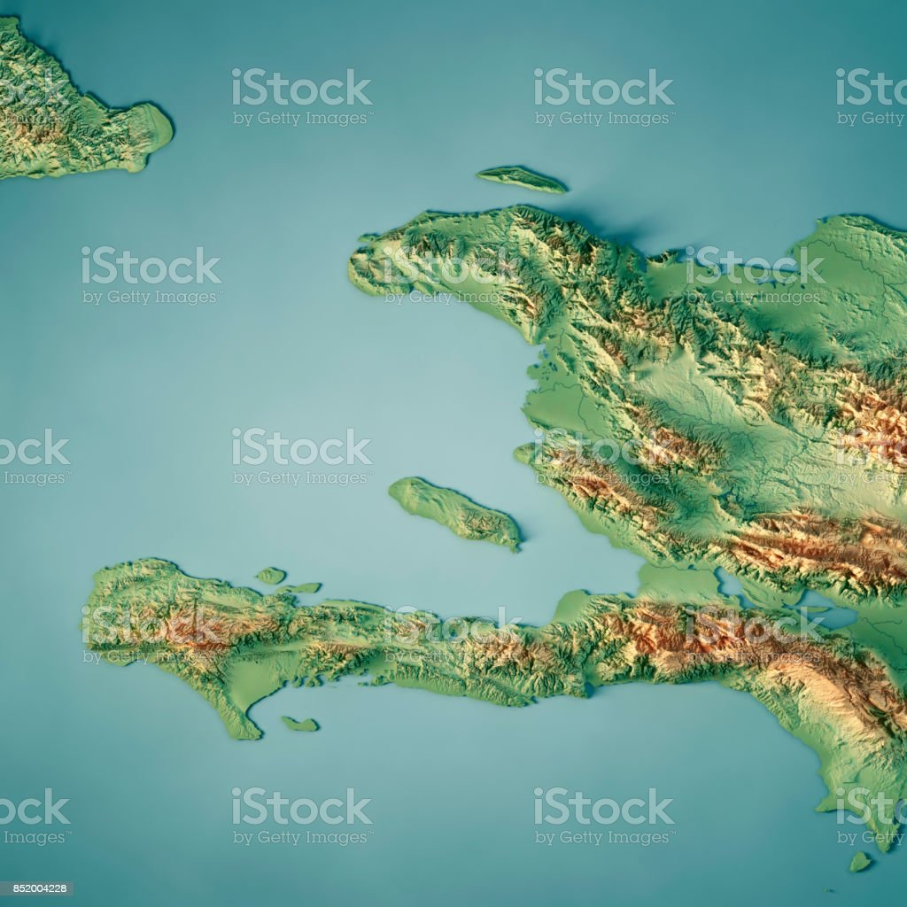 Topographic Map Of Haiti.Haiti 3d Render Topographic Map Stock Photo More Pictures Of