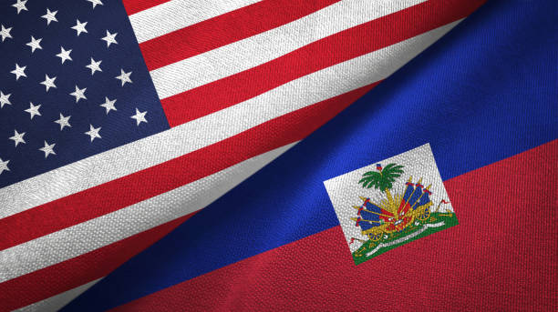 Haiti and United States two flags together textile cloth, fabric texture Haiti and United States flags together textile cloth, fabric texture Haiti Flag stock pictures, royalty-free photos & images